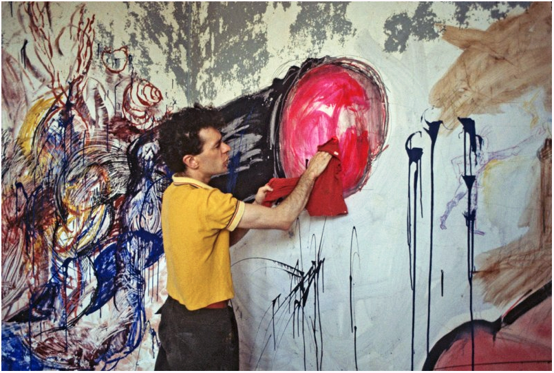 1983 THE PIER 34 SHOW Keith Davis doing his part of a collaborative painting with Jean Foos.