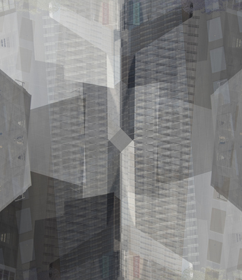 Jeanne Wilkinson City Symmetry Digital collage/print on aluminum