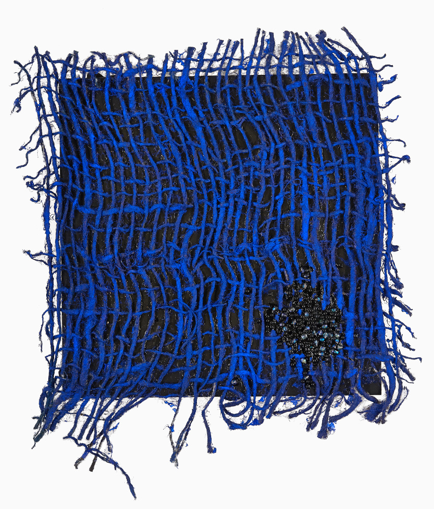 Jeannine Bardo 2013-2015 acrylic, sisal weaving, powdered pigment, glass, Swarovski crystals