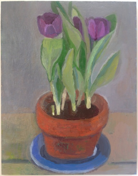 painting Purple tulips