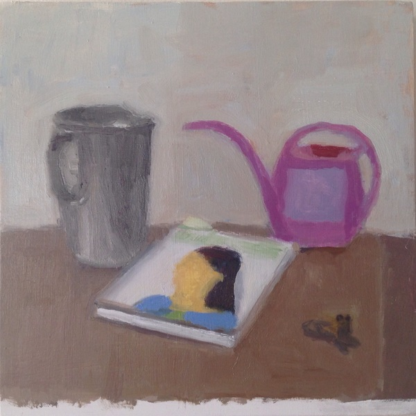 painting Still life with purple watering can