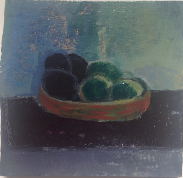 painting Black plums  and limes