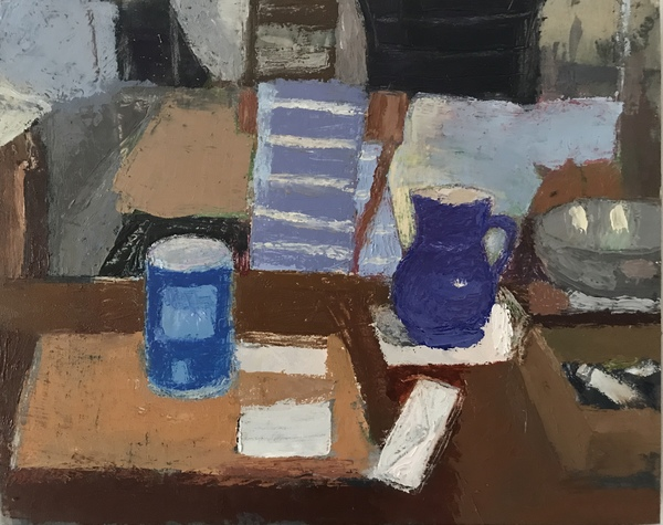 painting Blue pitcher still life