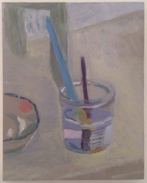 painting Paint brush in water glass still life