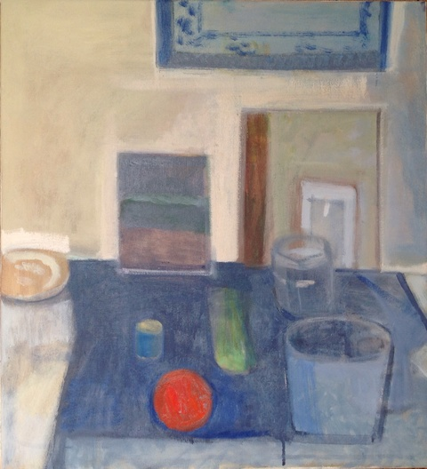 painting Blue and red still life