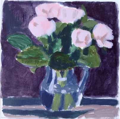 Jean Smith Flowers acrylic on watercolor paper