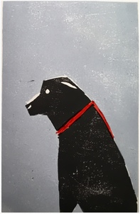 The dogs woodcut print
