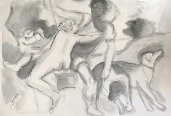 Jean Smith after famous paintings ink wash