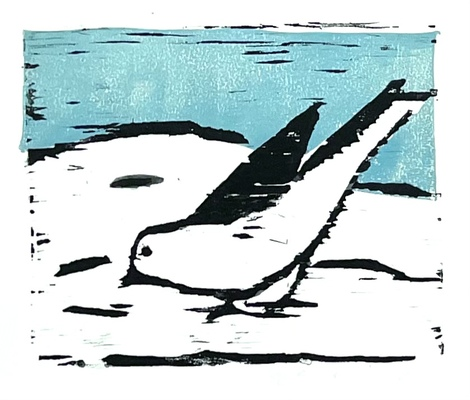Jean Smith birds Woodcut print