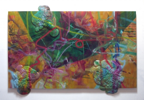 talkin' smack  acrylic, oil, spray paint, and urethane foam on wood panels
