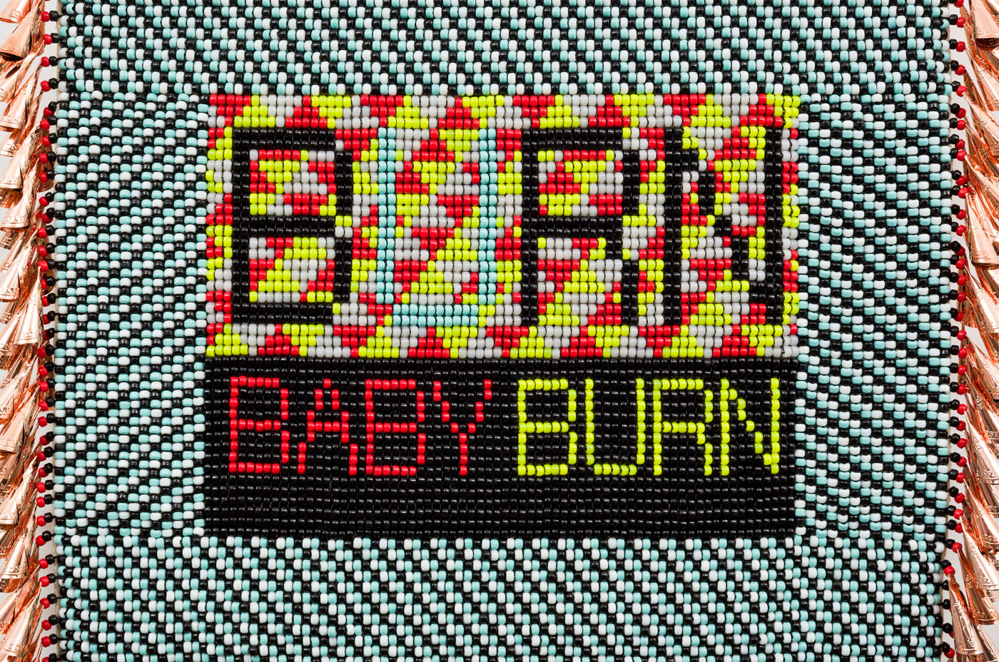 BURN BABY BURN repurposed wool army blanket, canvas, glass beads, plastic beads, copper jingles, nylon fringe, artificial sinew