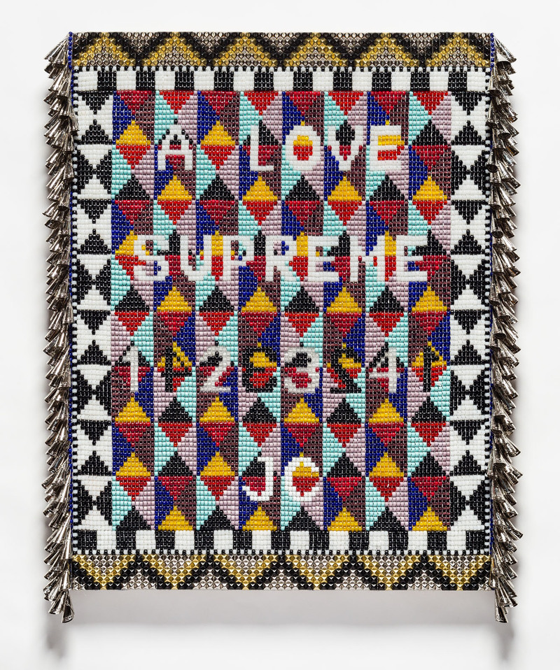 A LOVE SUPREME Glass beads, artificial sinew, metal studs, tin jingles, acrylic felt, over wood panel