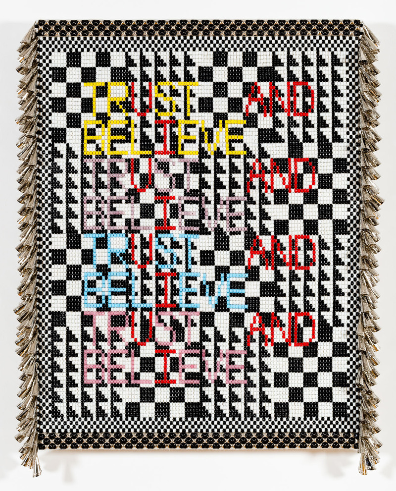 TRUST AND BELIEVE Glass beads, artificial sinew, tin jingles, metal studs, acrylic felt, canvas, over wood panel