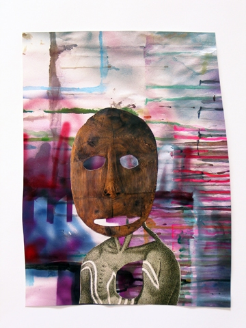 Works on Paper found printed images, acrylic and spray paint on paper