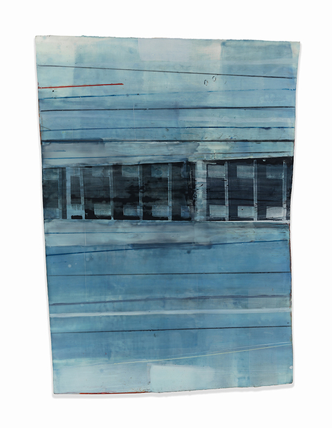 Jeffrey Hirst Structural Alterations encaustic and oil on shaped panel