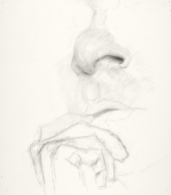 Self-portrait drawings Study of hand, mouth, and nose (IFOI 16x14)