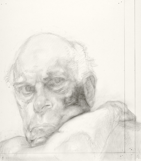 Self-portrait drawings Study of head and arm (1st RICHONFA, no. 2)