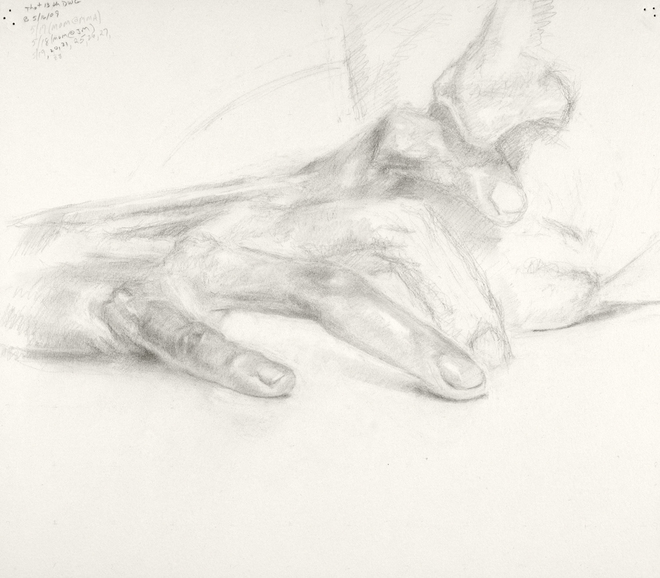 Self-portrait drawings Study of hand and lower part of face (THOT series, no. 13)