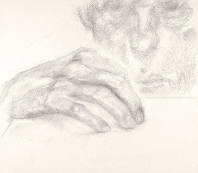 Paintings and drawings of my left hand Study of left hand (with head) (B 06/22)