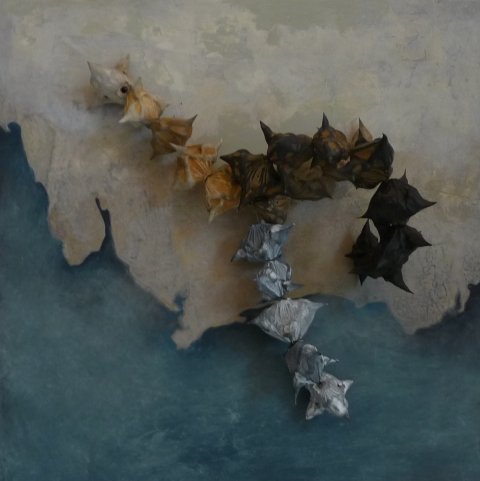 Jen Bradford Mixed Media oil, asian water chestnuts on panel