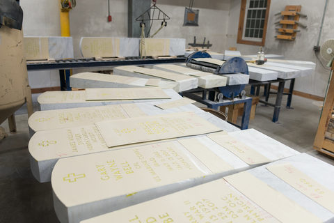 Veteran gravestones waiting to be sandblasted, Granite Industries of Vermont