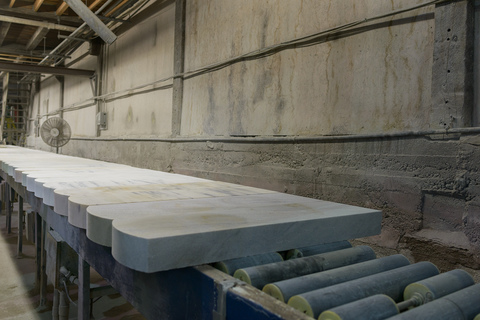 Cut veteran gravestones ready for stencil application, Granite Industries of Vermont