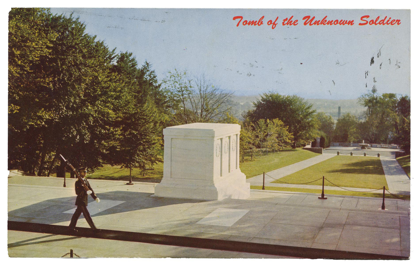 Memorial Tomb of the Unknowns. Mike Roberts, Natural Color, Berkeley, CA. Published for Washington Novelty, Inc., Washington, D.C. Digital scan of post card (front)