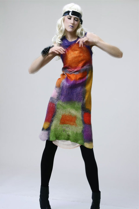 Wearable Art: Harlequin Feltworks Colors Dress
