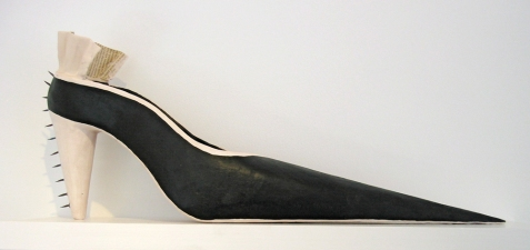 Jennie Nichols Shoes Aqua-Resin, Black Paint, Cut Tacks, Newsprint