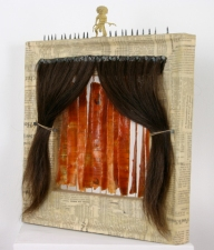 Jennie Nichols Collage Wood, Newsprint, Wax, Hair, Tacks, String, Found Object