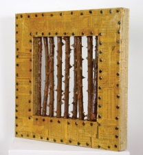 Jennie Nichols Collage Wood, Newsprint, Urethane Rubber, Tacks, Rose Stalks