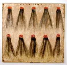 Jennie Nichols Hair Wood, Human Hair, Wax, Thread, Tacks, Canvas, Newsprint