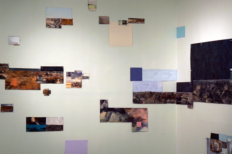 JENNILIE BREWSTER SPACES ACRYLIC AND PAINT SQUARES ON PAPER AND PAINTED WALLS
