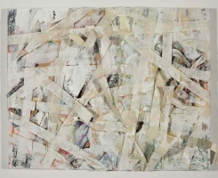 JENNILIE BREWSTER NEWSPAPER SERIES ACRYLIC AND COLLAGE ON CANVAS