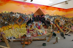 JENNILIE BREWSTER INSTALLATIONS HOUSE PAINT, COLLAGE, AND LOCAL DISCARDED MATERIALS