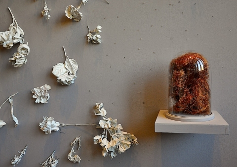 2012 . Swell bell jar . copper wire . plasticized silk flowers . rhinestones