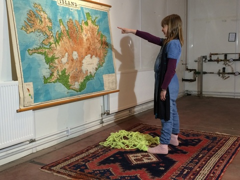 2015 . Brave New World Icelandic wool + vintage school map