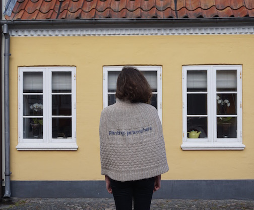 2015 . Paintings Pictured Here Shetland wool knit + worn by artist Alex Nazar (US)