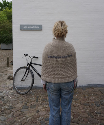 2015 . Paintings Pictured Here Shetland wool knit + worn by artist Stine Frederiksen (DK)