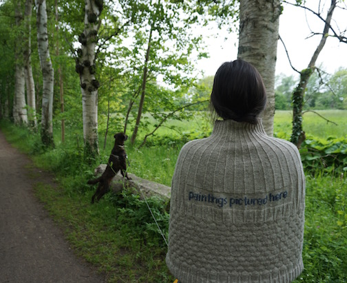 2015 . Paintings Pictured Here Shetland wool knit + worn by artist Päivi Pussila (FI)