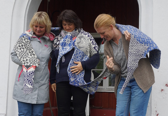 2015 . How to Wear a Hardangerfjord Norwegian wool knit + worn by knitters Astrid Farestveit Selsvoid, Merete Salvesen Wallevik + Camilla Gangal