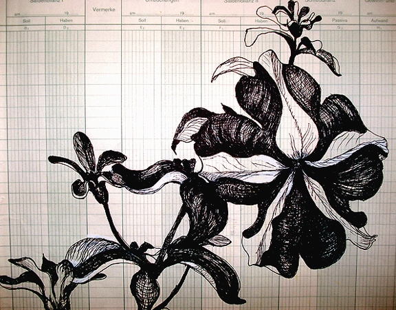 Jerelyn Hanrahan Schwartz Blumen  Ink on graph paper