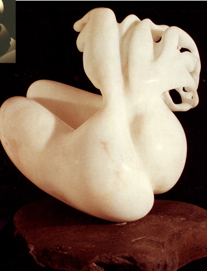 Jerelyn Hanrahan SCULPTURE Carved alabaster, river rock