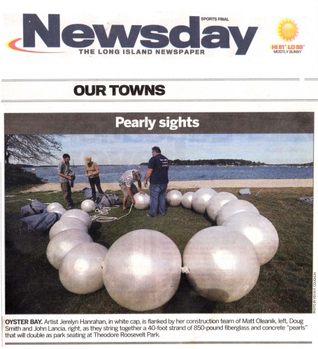 Jerelyn Hanrahan Graduated Pearls, Windsor Ontario, 2017, Jim Kempner Fine Arts, Theadore Roosevelt Park, 2012 Press coveraged