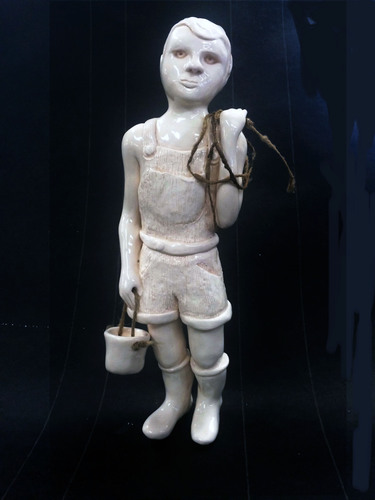 Jerelyn Hanrahan  FIGURINE SERIES 2015 - 2018 Porcelain and rope on wood base , black granite base
