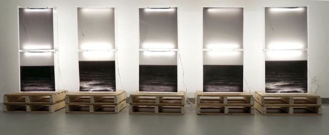 Jeri Coppola Eternal Recurrence of the Same lightbox, duratrans, pallets