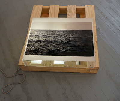Jeri Coppola To The Sea duratrans, wood pallet and lightbox
