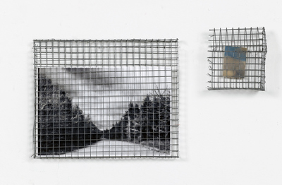 Jeri Coppola Drive By and House ink jet prints and chicken wire