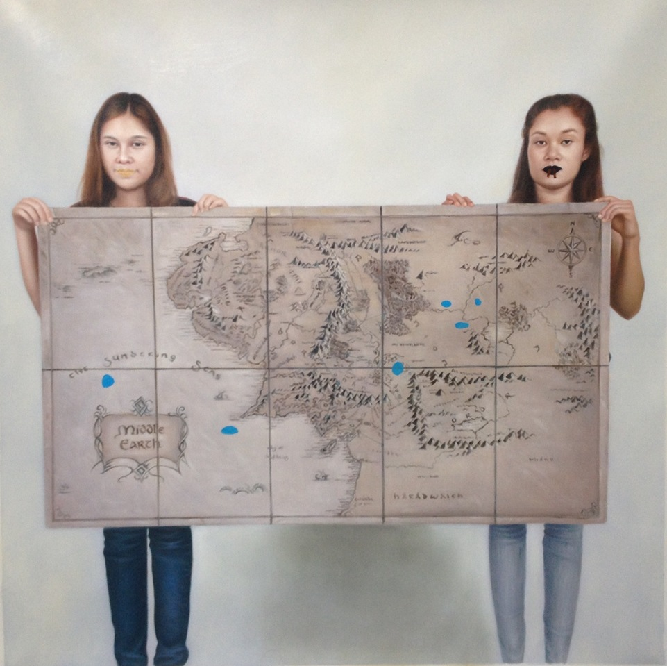 South East Asian Women Holding a Map of Middle Earth Before and After Aragorn's Travels   South East Asian Women Holding a Map of Middle Earth Before and After Aragorn's Travels
