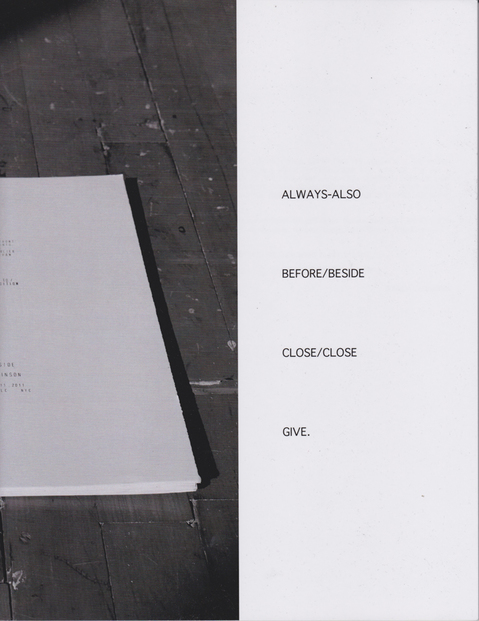 JESSICA DICKINSON publications remainder book for the exhibition BEFORE/BESIDE)
